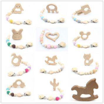 Silicone & Wooden Necklace Teether with Pacifier Clip