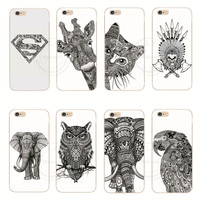 Vtg Style Head Case Aztec Elephant Giraffe Animal Hand Drawn Animal Back Case Cover For Apple iPhone 6 6S 6 Plus 6SPlus