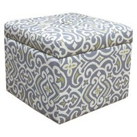 Accent Furniture Storage Ottoman New Damask Gray & Citron