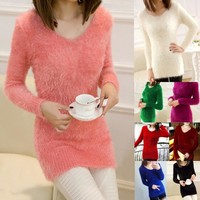 Fluffy Mohair Sweater, One Size
