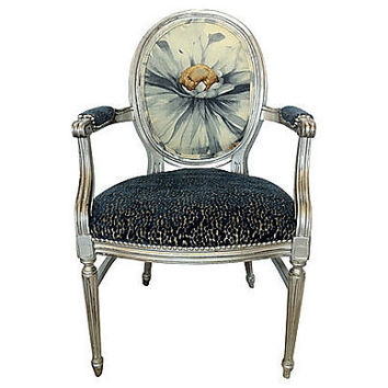 Silver and Blue Upholstered French Louis XVI Arm Chair Floral Linen and Blue Chenille Fabric Sitting Designer Handmade