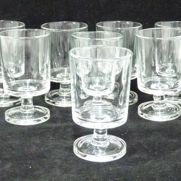 8 x Luminarc Cavalier Sherry, Liqueur or Snifter Glasses, Retro French Arcoroc, Clear Plain Glass, Sweet Wine Glass, Drink and Barware,