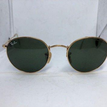 Gotopfashion Ray Ban Round Metal RB3447 001 50-21 3N Sunglasses, gold metal frame