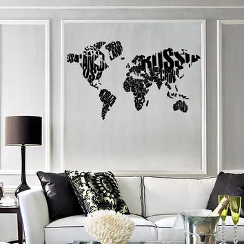 Wall Sticker World Map Made of Country Names Modern Cool Decor for Living Room (z1310)