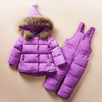 Infant Baby Snowsuit Real Fur 2017 New Winter Baby Oufits for Girls Boys Snow Wear 2pcs Hooded Down Jacket+Warm Jumpsuit Z101