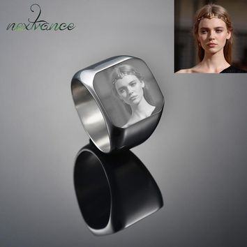 Nextvance Customized Engrave Signet Ring Square Big Width Band Ring Name Photo Personalized Gift for Biker Jewelry Bague Homme