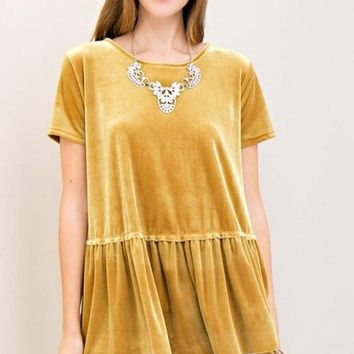 Knox Gold Standard Velvet Peplum Top FINAL SALE!