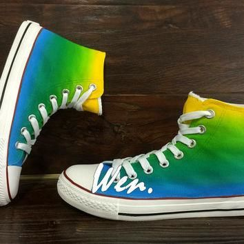 WEN Original Design Christmas Gifts Gradient Green Converse Gradient Shoes Hand Painte
