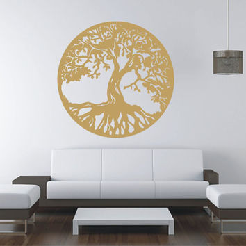 Gold Tree Of Life Vinyl Decal Wall Sticker Tattoo By Tibi291