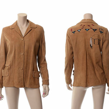 Vintage Hand Painted Buckskin Leather Jacket 40s 50s 1940s 1950s Native Indian Symbols Suede Coat Hippie Boho Rockabilly Western Jacket