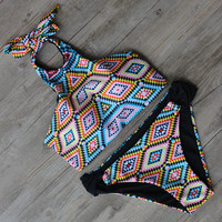 High Neck  Bikini Bandage Swimsuit Summer Bathing Suit
