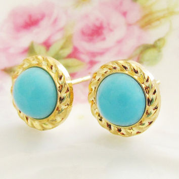 Aqua Blue Rope Round Gold Plated Post Earrings - Preppy Bridesmaid, Wedding, Bridal
