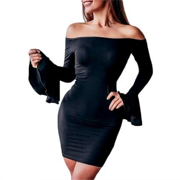 New Women Summer sexy Off the Shoulder Casual bodycon Club mini Dress fashion long flare sleeve solid slim pencil mini dress