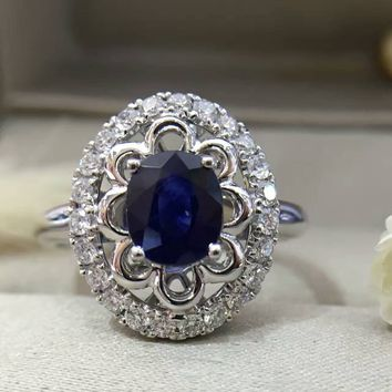 18K Gold 1.055ct  Natural Sapphire Women Ring with 0.376ct Diamond Setting 2016 New Fine Jewelry Wedding Band Engagement