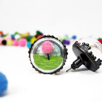 Miniature Terrarium Lorax Stud Earrings,Dr Seuss Inspired, Antique Bronze Finish, Pink Felted Tree and Green Felt Grass