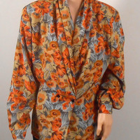 Floral Blouse - Impressions Fall Colors - Size 12 With Shoulder Pads - Vintage 1980s  - Free US Shipping