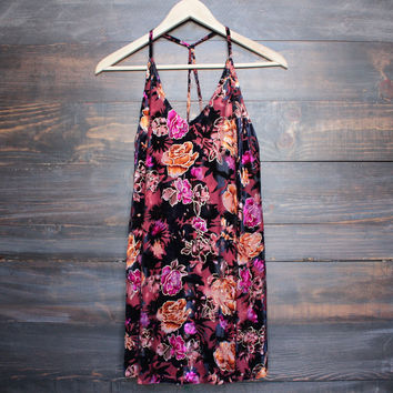 after party floral velvet dress with t strap back