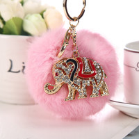 Women Bag Pendant Charm Rabbit Fur Keychains Cute Elephant Car Key Holder