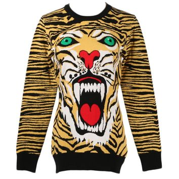 GRUIICEEN streetwear tiger women sweater round neck slim ugly christmas sweater pullovers GY2018453