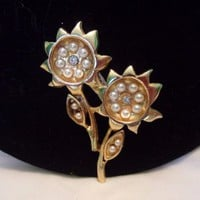 Estate Faux Pearl Sunflower Glass Rhinestone Brooch Gold Plate Vintage Pin