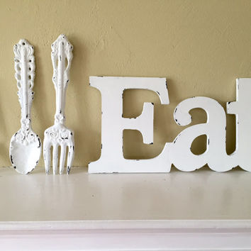 Eat, large fork and spoon, kitchen or dinning room decor, White