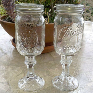 Set Of 2 Ball Mason Jar Wine Glasses Redneck Hillbilly Fun Unique Gift Party