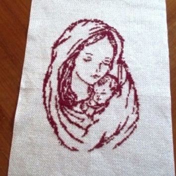 Virgin Mary with Jesus Christianity Finished cross Stitch Free Shipping Worldwide DMC