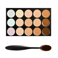 Professional 15 Colour Concealer Camouflage Contour Eye Face Cream Makeup Palette with Cosmetics Oval Make up Brush Top Quality Gift