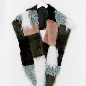 ASOS Faux Fur Multi Patchwork Oversized Scarf