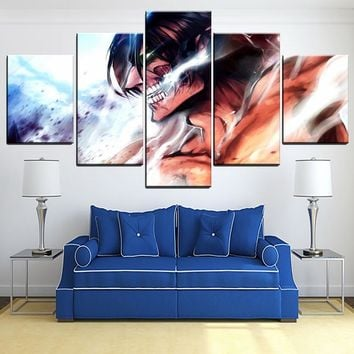 Cool Attack on Titan 5 Panel  Animation Painting Modern Home Wall Decorative Eren Yeager Poster Canvas Art Print Type Style Picture AT_90_11