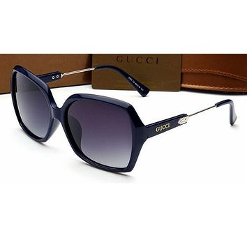 Gucci Personality Women Casual Sun Shades Eyeglasses Glasses Sunglasses Blue Frame G