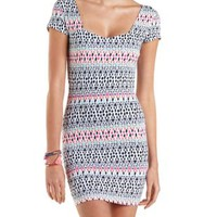 Open Back Printed Bodycon Dress by Charlotte Russe
