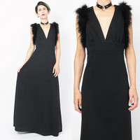 1960s Marabou Feather Dress 70s Black Maxi Dress Black Evening Gown V Neck Goth 1970s Disco Dress Empire Waist Cut Out Back Dress (M/L)