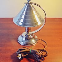 1930's Art Deco Table Lamp, Coulter Toronto, Adjustable Polished Aluminum Chrome Lamp, Portable Lamp