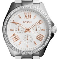 Women's Fossil 'Cecile' Crystal Bezel Chronograph Bracelet Watch, 40mm - Silver (Nordstrom Exclusive)