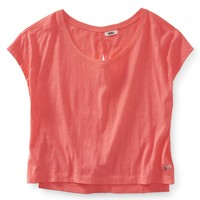 Cropped Open-Back Solid Yoga Tee - Aeropostale