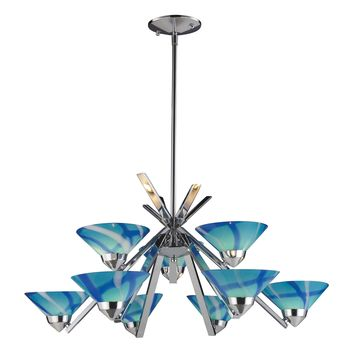1476/6+3CAR Refraction 9 Light Chandelier In Polished Chrome And Carribean Glass - Free Shipping!