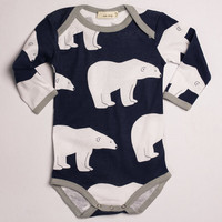 3-6 MTHS Zebi Baby One Piece Navy Polar Bear