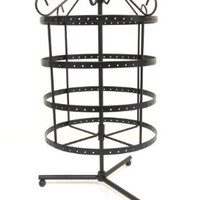 4 Tiers Rotating 92 pairs Earring Holder ~Necklace Organizer Stand ~ Jewelry Stand Display Rack Towers (Antique Silver)