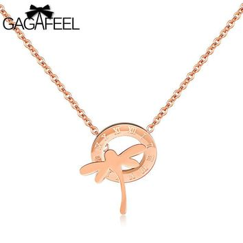 Gagafeel Cute Dragonfly Pattern Roman Numerals Necklace For Woman Jewelry Stainless Steel Rose Gold Chain Pendant Gift