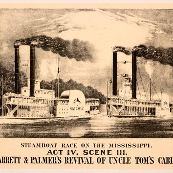 1942 Print Currier Ives Steamboat Mississippi Uncle Toms Cabin Jarrett XAO9