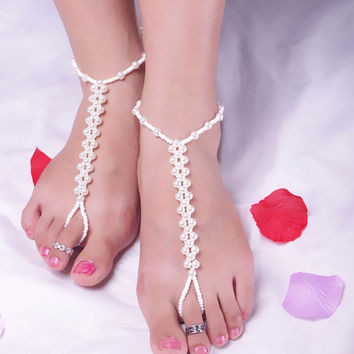 Women Beach Imitation Pearl Anklet Barefoot S al Foot Jewelry Chain Ankle Bracelet SM6