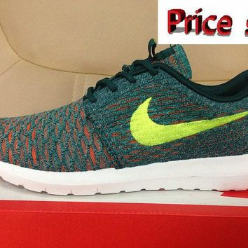 Purchase Nike Flyknit Roshe Run Mineral Teal Volt Dark Atomic Teal 677243 300 shoes