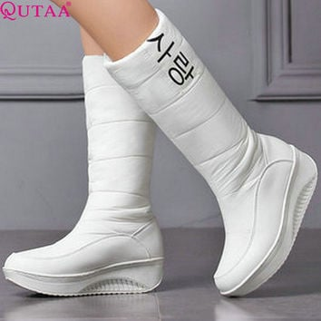 QUTAA 2017 Western White PU leather+Down Mid-Calf Round Toe Wedge Med Heel Boots Women Snow Boots Wedding Snow Boots Size 35-40