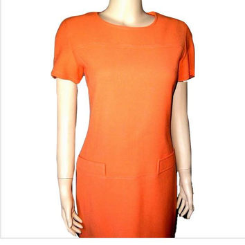 Spring 1962 Parisian MOD Orange Mini Scooter Dress by THERESE BEAUMAIRE Paris 2/4 - Never Worn - Treasuries Featured