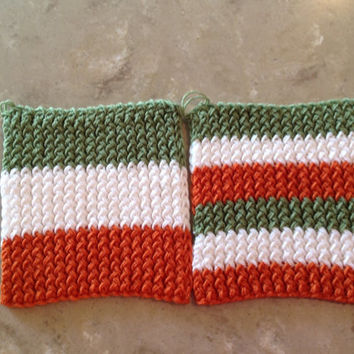 Irish Flag Ireland Knitted Pot Holders Trivets