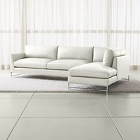Genesis Leather 2-Piece Right Arm Chaise Sectional with Brushed Stainless Steel Base