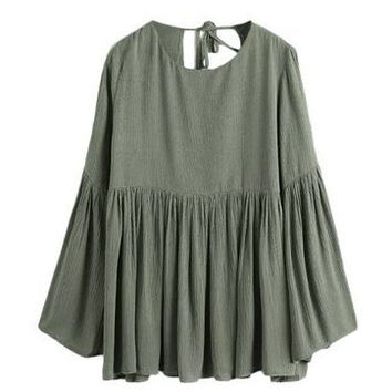 Alsa Military Green Ruffle Draped Blouse