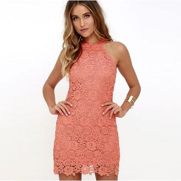 Pencil Sexy Sleeveless Lace Elegant Mini Dinner Dresses Women Evening Dress