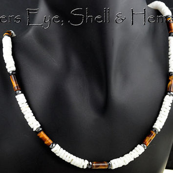 SN-114 Finely Made Shell, Hematite & Tigers Eye New Choker Surf Men Necklace.